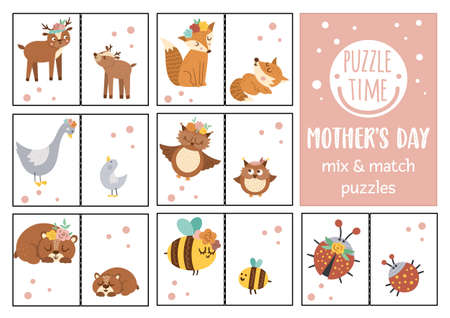 Vector Mothers day mix and match puzzle with baby animals and their mothers. Matching activity for preschool children. Educational printable game for kids with cute forest characters Vettoriali