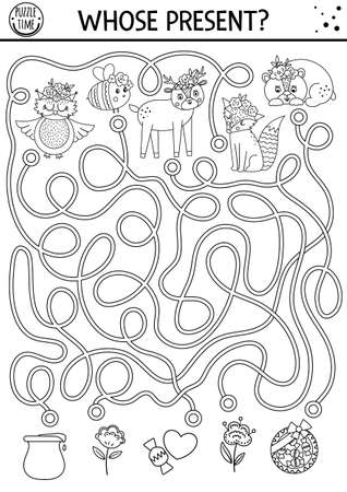 Mothers day black and white maze for children. Holiday preschool printable activity. Funny family love line game or puzzle with cute animals and gifts. Mother and baby labyrinth or coloring page