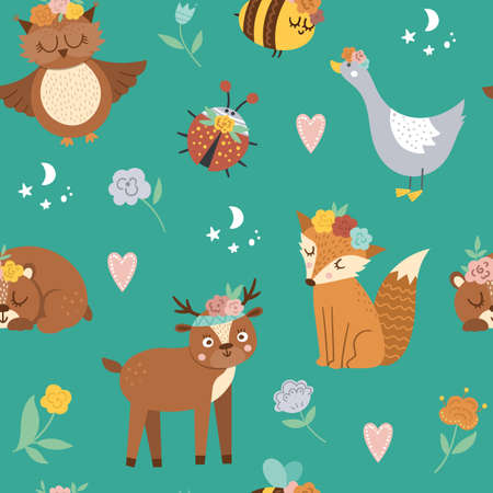 Vector seamless pattern with woodland animals, insects and birds. Boho forest repeating background. Bohemian digital paper with fox, owl, bear, deer, ladybug, goose with flowers on heads.