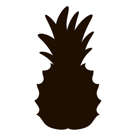 Vector tropical pineapple fruit silhouette clip art. Black jungle foliage illustration. Hand drawn exotic plant isolated on white background. Healthy summer food shadow icon. Vector Illustration