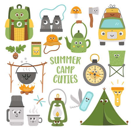 Vector summer camp cute kawaii elements set. Camping, hiking, fishing equipment collection. Outdoor nature tourism icons pack with backpack, van, tent. Forest travel funny smiling characters Ilustración de vector