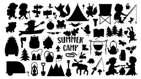 Vector summer camp silhouettes set. Camping, hiking, fishing equipment black and white collection with cute kids and forest animals. Outdoor nature tourism stamps pack with backpack, van, fire