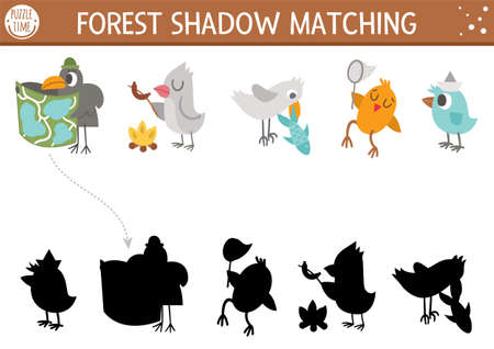Forest or camping shadow matching activity with cute animals. Family nature trip puzzle with birds, raven with map, seagull with fish. Find the correct silhouette printable worksheet or game. Ilustración de vector