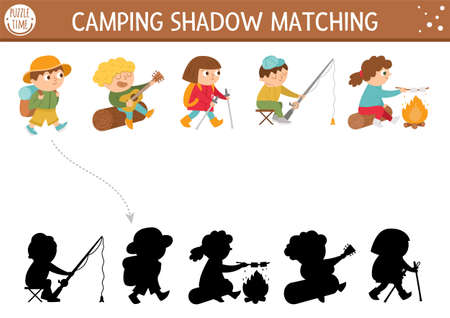 Summer camp shadow matching activity with cute children. Family nature trip puzzle with kids fishing, hiking, playing guitar. Find the correct silhouette printable worksheet or game.