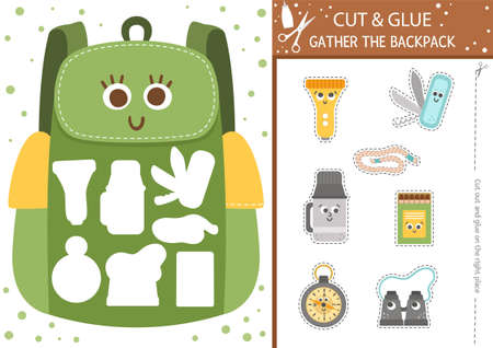 Vector camping cut and glue activity. Summer camp educational crafting game with cute backpack. Fun page for kids. What goes to hiking bag printable worksheet