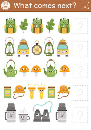 What comes next. Summer camp matching activity for preschool children with smiling camping equipment. Funny educational puzzle. Logical worksheet. Outdoor trip continue the row game.