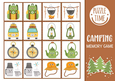 Vector summer camp memory game cards with cute smiling equipment. Camping matching activity. Remember and find correct card. Simple wildlife printable worksheet for kids. Illustration