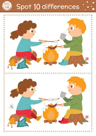 Find differences game for children. Summer camp educational activity with kids and fire. Printable worksheet with cute camping or forest scenery. Woodland preschool sheet