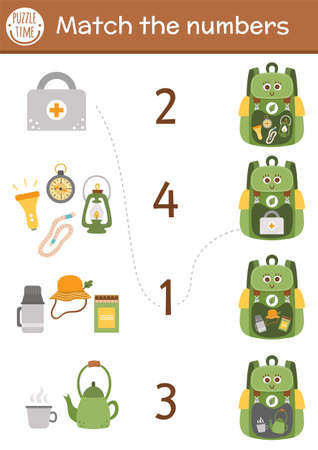 Match the numbers game with backpack and camping equipment. Summer camp math activity for preschool children with lantern, compass, rope. Printable counting worksheet for kids