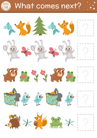 What comes next. Forest matching activity for preschool children with cute woodland animals. Funny educational puzzle. Logical worksheet. Continue the row game with rabbit, bear, frog, fox, bird. Illustration