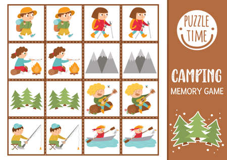 Vector summer camp memory game cards with cute hiking kids and nature. Camping matching activity. Remember and find correct card. Simple wildlife printable worksheet for kids.