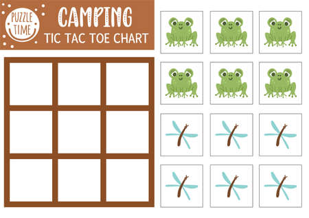 Vector forest tic tac toe chart with cute frog and dragonfly. Woodland board game playing field with animal and insect. Funny printable worksheet for kids. Noughts and crosses grid