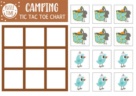 Vector forest tic tac toe chart with cute birds. Woodland board game playing field with animal with map. Funny printable worksheet for kids. Camping noughts and crosses grid