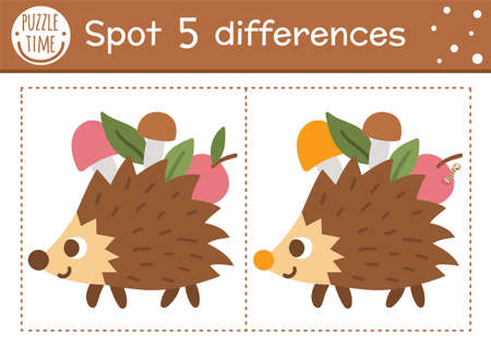 Find differences game for children. Woodland educational activity with funny hedgehog carrying apples. Printable worksheet with cute animal. Summer nature puzzle for kids. Forest preschool sheet