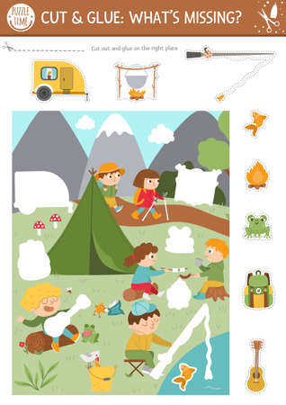 Vector camping cut and glue activity. Summer camp educational crafting game with cute scene with kids in the forest. Fun printable worksheet for children. What is missing page. Complete the picture Illustration