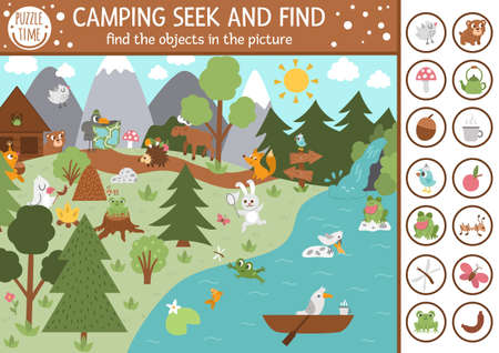 Vector camping searching game with cute animals in the forest. Spot hidden objects in the picture. Simple seek and find summer camp or woodland educational printable activity for kids