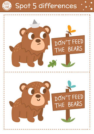 Find differences game for children. Woodland educational activity with funny bear and signboard. Printable worksheet with cute animal. Summer nature puzzle for kids. Forest preschool sheet Illustration