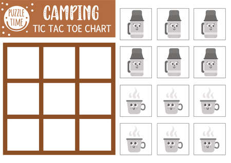 Vector summer camp tic tac toe chart with cute camping equipment. Woodland board game playing field , cup. Funny printable worksheet. Camping noughts and crosses grid