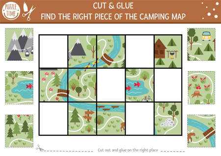 Vector camping cut and glue activity. Summer camp educational crafting game with cute scene. Fun printable worksheet for children. Find the right piece of the map. Complete the picture