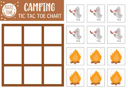 Vector forest tic tac toe chart with cute bird and fire. Woodland board game playing field with animal frying sausage. Funny printable worksheet for kids. Camping noughts and crosses grid Illustration