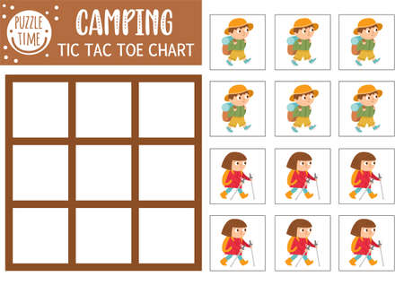 Vector summer camp tic tac toe chart with cute hiking kids. Woodland board game playing field with walking children. Funny printable worksheet. Camping noughts and crosses grid Illustration