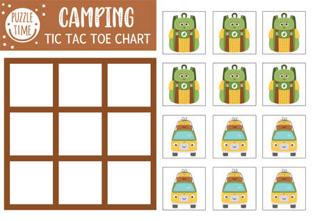 Vector summer camp tic tac toe chart with cute camping equipment. Woodland board game playing field with backpack, van. Funny printable worksheet. Camping noughts and crosses grid