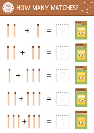 How many matches game with cute match in the box. Summer math addition activity for preschool children. Printable simple counting worksheet for kids with smiling object