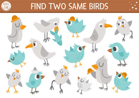 Find two same birds. Forest matching activity for children. Funny woodland educational logical quiz worksheet for kids. Simple printable seek and find game with cute animals. Illustration
