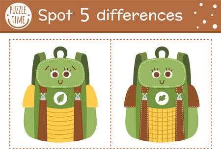 Find differences game for children. Summer camp educational activity with funny smiling backpack. Printable worksheet with cute camping equipment. Forest preschool sheet Illustration
