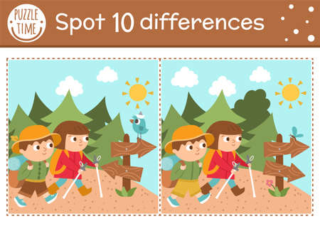 Find differences game for children. Summer camp educational activity with hiking kids, road sign, forest, bird. Printable worksheet with cute camping or forest scenery. Woodland preschool sheet
