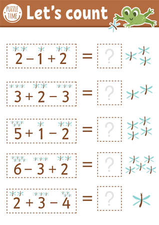 How many dragonflies game with cute insects and frog. Summer forest math addition activity for preschool children. Printable simple counting worksheet for kids