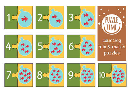 Vector mix and match puzzle with fish in plastic bag with water. Matching math activity for preschool children. Educational printable counting game for kids with cute animals