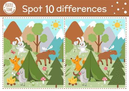 Find differences game for children. Woodland educational activity with funny camping scene. Printable worksheet with cute animals in the wild. Summer nature puzzle for kids. Forest preschool sheet