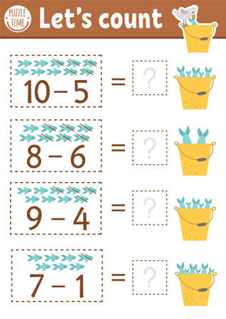 How many fish game with cute fishes in the bucket with water. Summer math subtraction activity for preschool children. Printable simple counting worksheet for kids with seagull