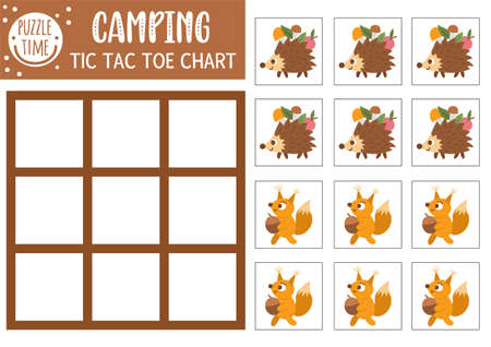 Vector forest tic tac toe chart with cute hedgehog and squirrel. Woodland board game playing field with animals. Funny printable worksheet for kids. Noughts and crosses grid