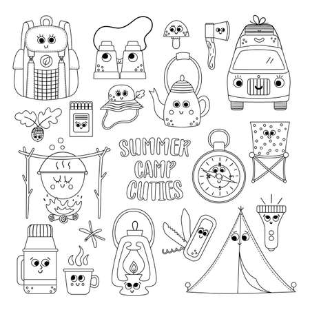 Vector black and white summer camp kawaii elements set. Camping, hiking, fishing equipment collection. Outdoor nature tourism outline icons pack with backpack, van, tent