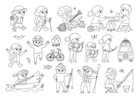 Cute hiking kids doing summer activities. Vector black and white summer camp set. Camping, fishing, rafting, trekking outline children collection. Outdoor nature tourism tourists icons pack Illustration