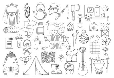 Vector black and white summer camp set. Camping, hiking, fishing equipment collection. Outdoor nature tourism outline icons pack with backpack, van, rod, clothes, fire place, sleeping bag.