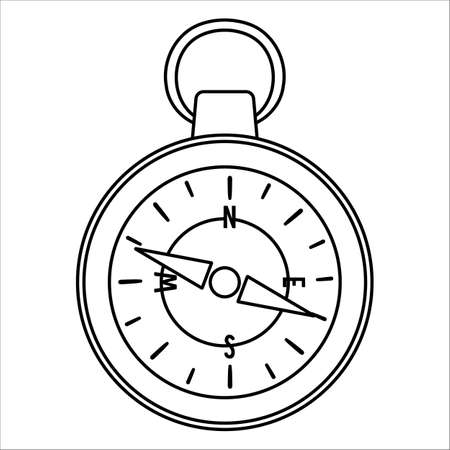 Vector black and white compass icon isolated on white background. Camping or hiking equipment outline illustration for kids. Line art orienteering device for forest tourism or traveling.