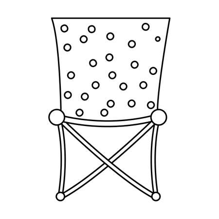 Vector black and white foldable chair icon isolated on white background. Cute tourist sitting place for rest or fishing. Outline camping portable stool illustration.