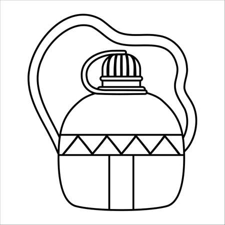 Vector black and white flask icon isolated on white background. Portable outline water bottle illustration. Container for active outdoor tourism. Line tourist jar picture