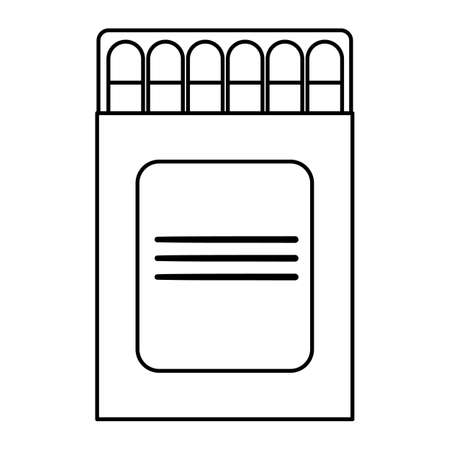 Vector black and white match box icon isolated on white background. Outline burning stick illustration. Line style matchstick pack picture. Illustration