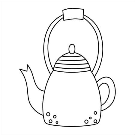 Vector black and white teapot icon. Kawaii tea pot illustration. Outline kettle isolated on white background. Linear art kitchen or hiking equipment