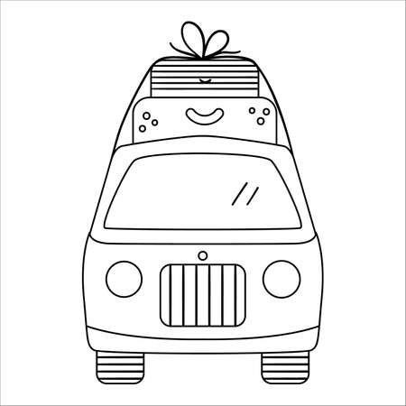 Vector black and white tourist van with suitcases on top. Cute outline camper. Line art camping car illustration. Linear journey vehicle concept. Funny truck icon with bags Illustration