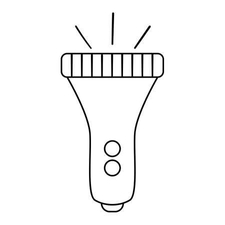 Vector black and white flashlight isolated on white background. Line lighting equipment illustration for kids. Outline portable lamp picture Illustration