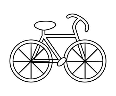 Vector black and white bicycle icon. Outline bike illustration isolated on white background. Active sport equipment sign. Simple active hobby line picture