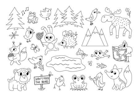 Vector black and white forest animals, insects and birds set. Funny woodland campfire outline icons collection. Cute forest line illustration for kids with mountains, trees, moose, frog, bear.