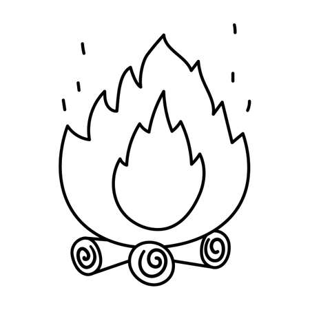 Cute black and white fire on the logs. Vector campfire illustration isolated on white background. Autumn or Summer season bonfire line icon for print, sticker, postcard. Funny hearth outline symbol.