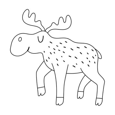 Vector black and white moose. Funny woodland animal. Cute forest line illustration for kids isolated on white background. Adorable outline walking elk icon