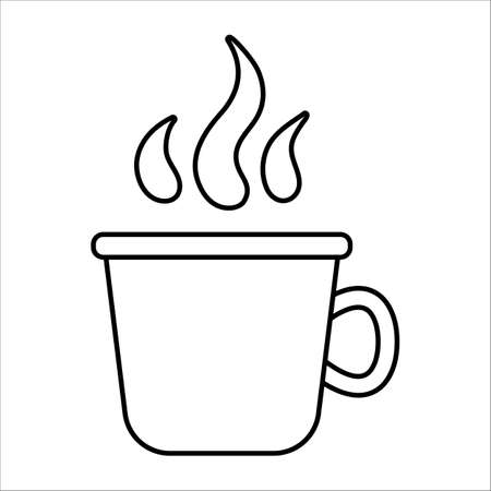 Vector black and white cup with steam isolated on white background. Winter or camping traditional warming drink outline illustration. Hiking hot beverage or tea line icon.